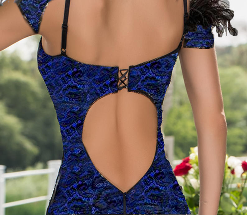 0668 HAND-LOOK SIREN LACE DRESS WITH COLORED LINING AND OPEN BACK