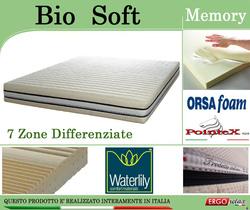 Materasso Memory Mod. Bio Soft da Cm 170x190/195/200 Zone Differenziate Argento Sfoderabile Altezza Cm. 22 - Ergorelax