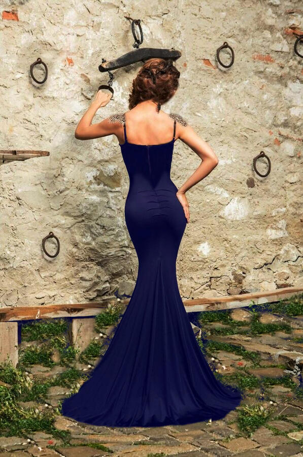 0673 SIREN DRESS WITH SLIT AND BRONZE MACRAME 'IN THE BODY