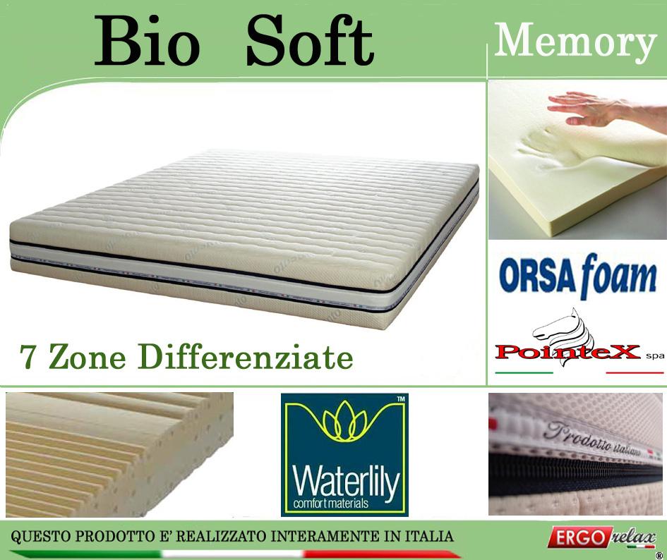 Materasso Memory Mod. Bio Soft da Cm 90x190/195/200 Zone Differenziate Argento Sfoderabile Altezza Cm. 22 - Ergorelax