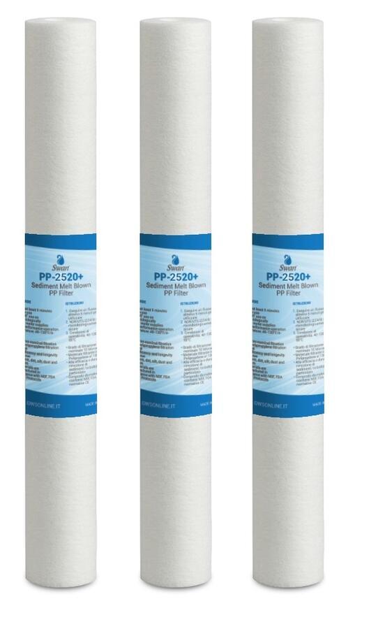 """Filtro Swn sedimenti 20"""" in vari gradi di filtrazione in confezione da tre pezzi."""