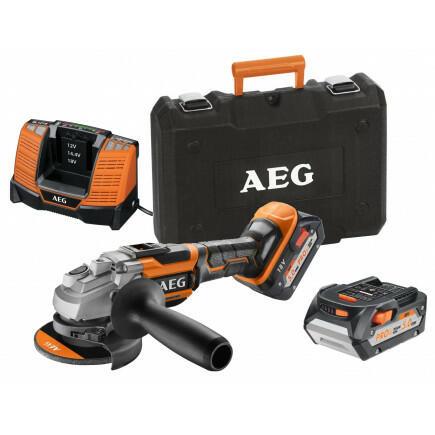 Smerigliatrice Angolare a Batteria AEG BEWS18-115BLLI-502C 18V due batterie 2 X 5.0AH