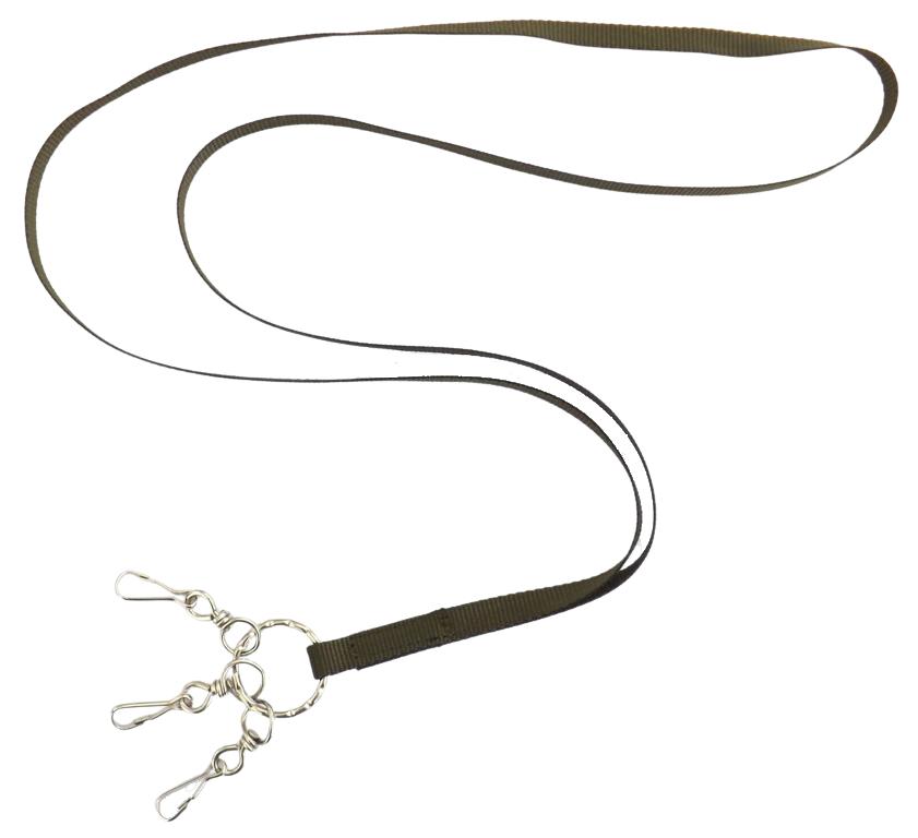 Fascetta porta fischietto in fettuccia mm.10 con 3 moschettoni
