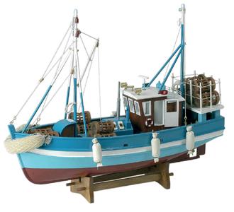 Modello di Peschereccio a Motore con Nasse in Legno di Artesania Esteban - Mondo Nautica 24