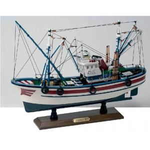Modello di Peschereccio a Motore in Legno con Base di Artesania Esteban - Mondo Nautica 24