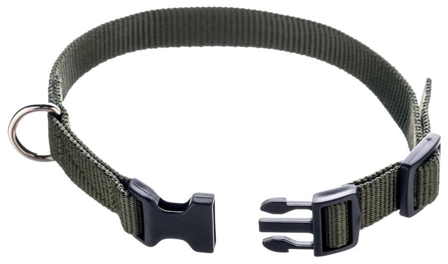 Collare regolabile per campani in fettuccia ad alta resistenza mm.20 colore verde militare