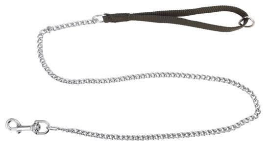 Guinzaglio con maniglia in fettuccia e catena modello leggero