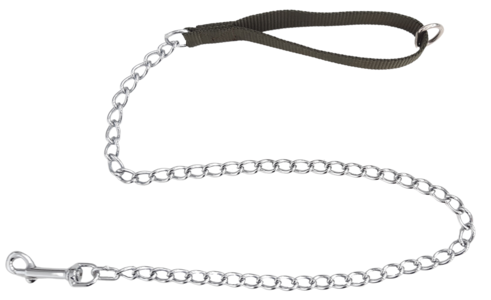 Guinzaglio con maniglia in fettuccia e catena modello pesante