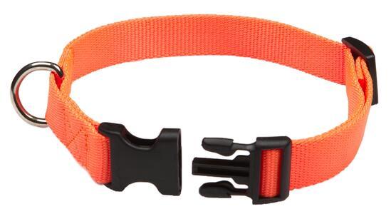Collare regolabile in fettuccia di morbido nylon 100% mm.20 colore arancio fluo
