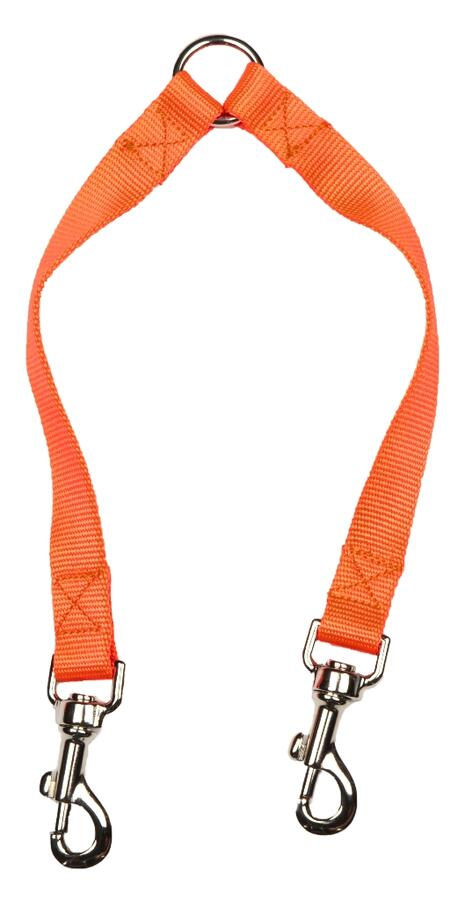 Accoppia cani in fettuccia di morbido nylon 100% mm.20 colore arancio fluo