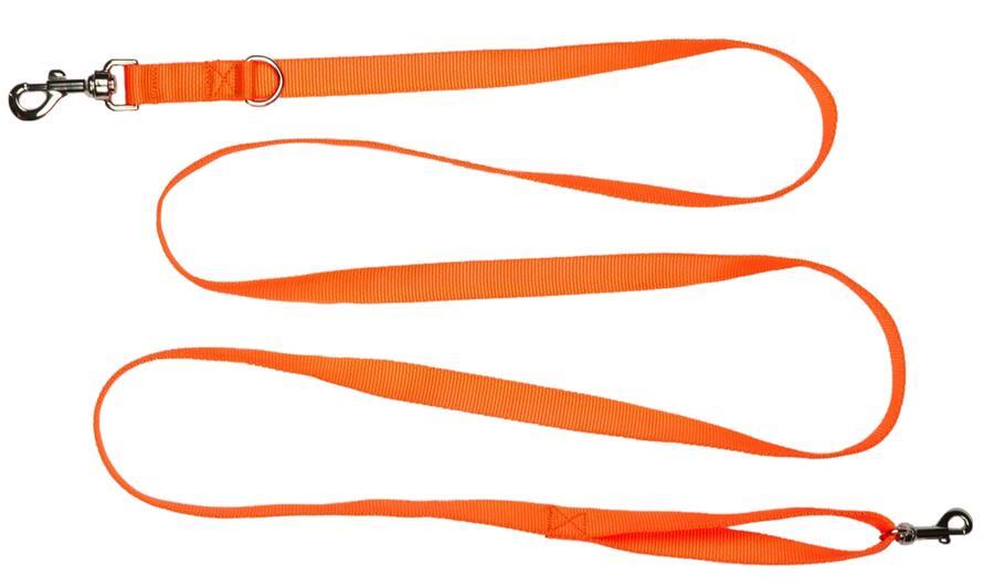 Guinzaglio in fettuccia di morbido nylon 100% mm.20 colore arancio fluo regolabile in due misure cm.125/235