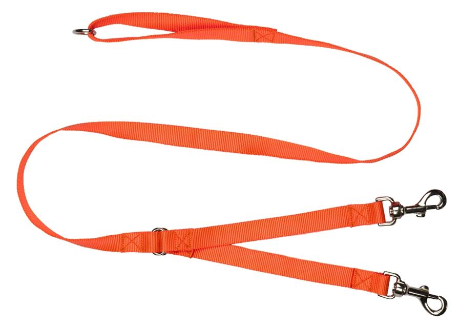 Guinzaglio accoppia cani in fettuccia di morbido nylon 100% mm.20 colore arancio fluo