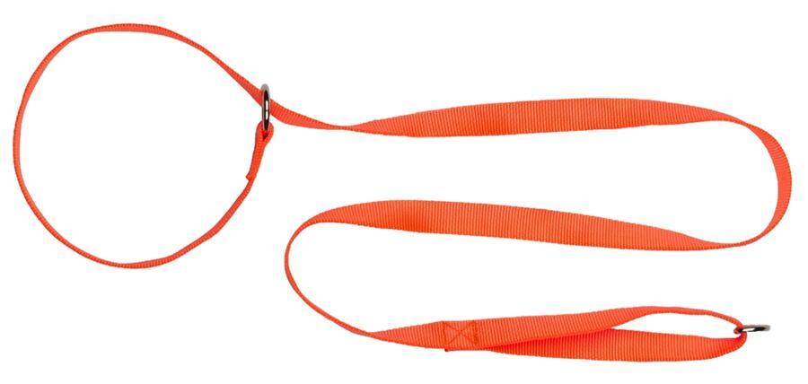 Guinzaglio a strangolo in fettuccia di morbido nylon 100% mm.20 colore arancio fluo