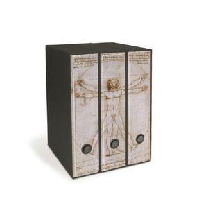 Set tre registratori Image - Formato Protocollo - Dorso 8 cm - L. Da Vinci - L'uomo di Vitruvio
