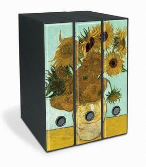Set tre registratori Image - Formato Protocollo - Dorso 8 cm - Vincent van Gogh - Girasoli