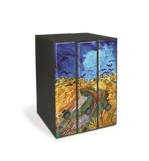 Set tre registratori Image - Formato Protocollo - Dorso 8 cm - Vincent van Gogh - Campo di grano con corvi