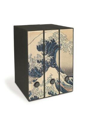 Set tre registratori Image - Formato Protocollo - Dorso 8 cm - K. Hokusai - La grande onda a Kanagawa