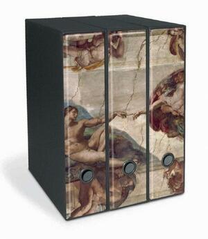 Set tre registratori Image - Formato Protocollo - Dorso 8 cm - Michelangelo Buonarroti - Creazione di Adamo