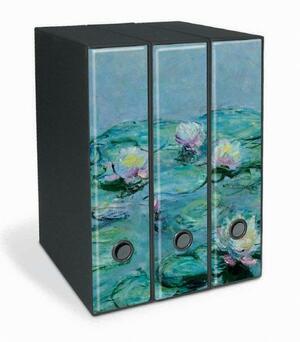 Set tre registratori Image - Formato Protocollo - Dorso 8 cm - Claude Monet - Ninfee