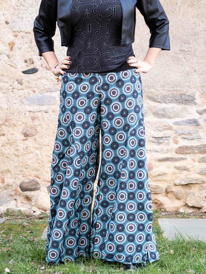 Pantalón mujer Ekta pierna ancha - turquesa