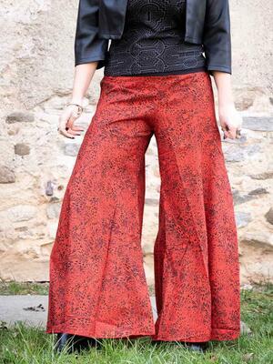 Pantalón mujer Ekta pierna ancha - rojo