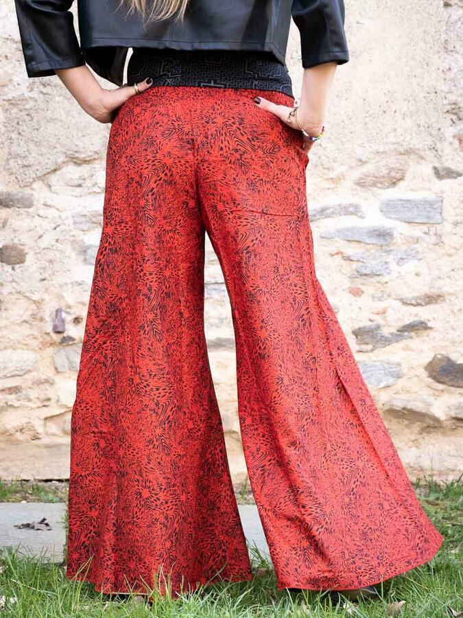 Long women's trousers Ekta wide leg - red