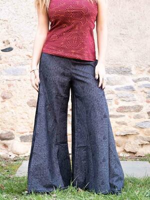 Pantalón mujer Ekta pierna ancha - gris oscuro