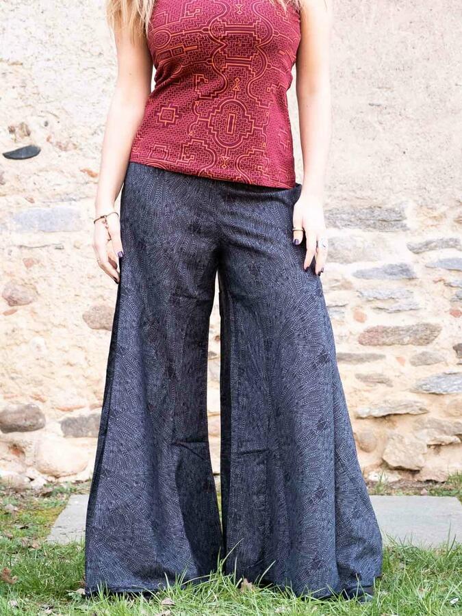 Long women's trousers Ekta wide leg - dark gray