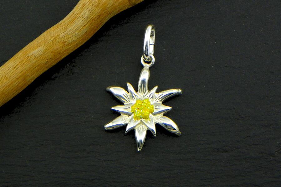 Edelweiss Ciondolo in Argento smalto