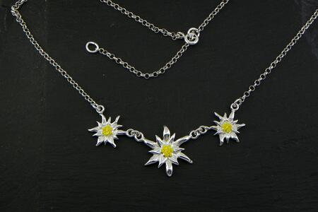 Edelweiss Necklace big in Silver enameled