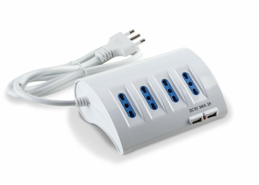ECK11310 PRESA MULTIPLA CON CAVO 4 BPRESE + 1 SCHUKO LATERALE + 2 USB BIANCO