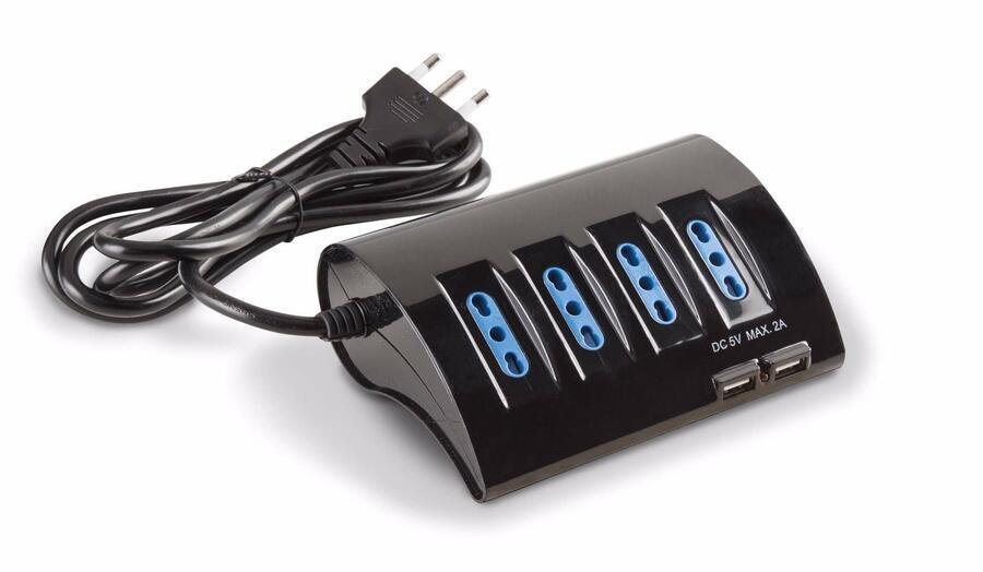ECK11310N PRESA MULTIPLA CON CAVO 4 BPRESE + 1 SCHUKO LATERALE + 2 USB NERO