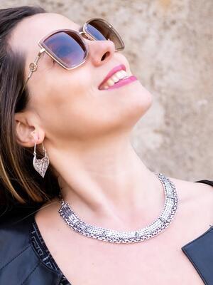 Collana donna a collare rigido stile antico placcata argento