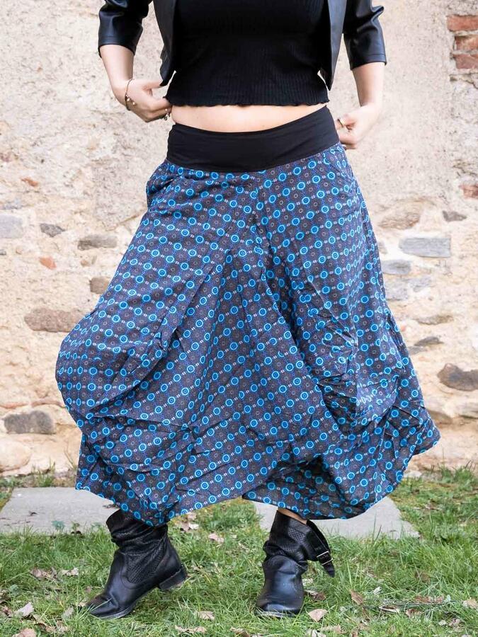 Falda de saco Dhara - azul florido