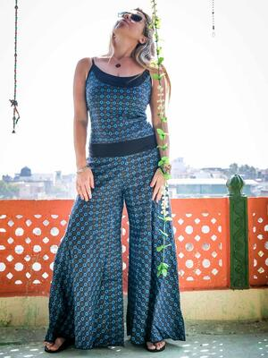 Vestito tuta donna lungo Sapna pantalone a zampa - blu fiorato