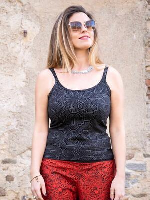 Top donna Nitya aderente con bretelle sottili - nero grigio