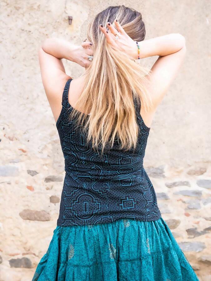 Top donna Nitya aderente con bretelle sottili - blu petrolio
