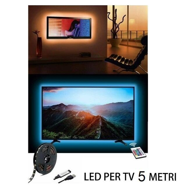 Led per tv USB RGB con telecomando multicolor 5 metri