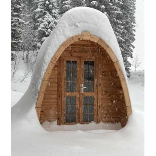 Glamping Pod in Thermowood di pino nordico Mod. Klara Mini 2,40 x 2,40 - 46mm
