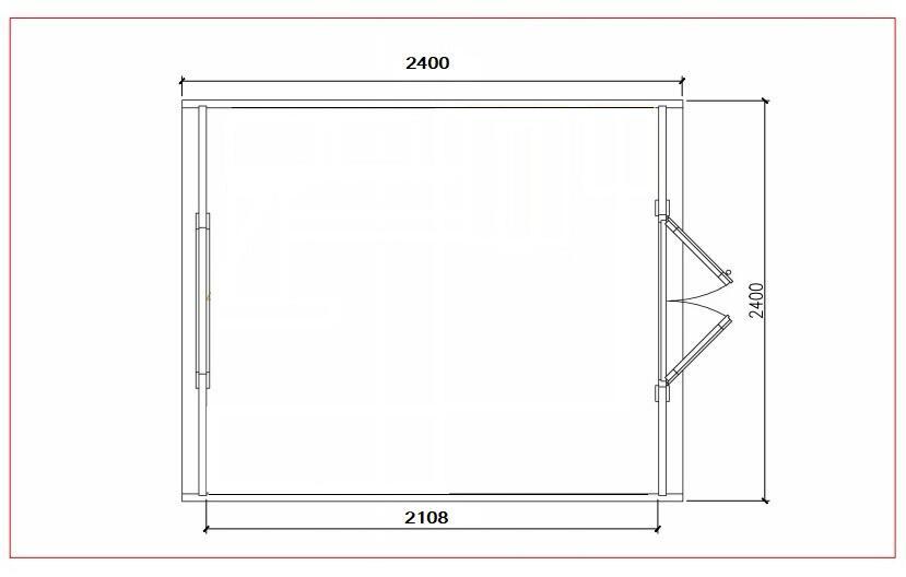 Glamping Pod in pino nordico Mod. Janina  2,40 x 2,40 - 46mm