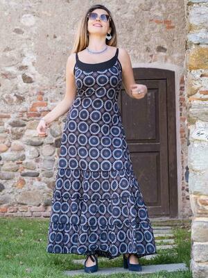 Vestido largo de mujer Ganga con volantes horizontales - florido azul y gris