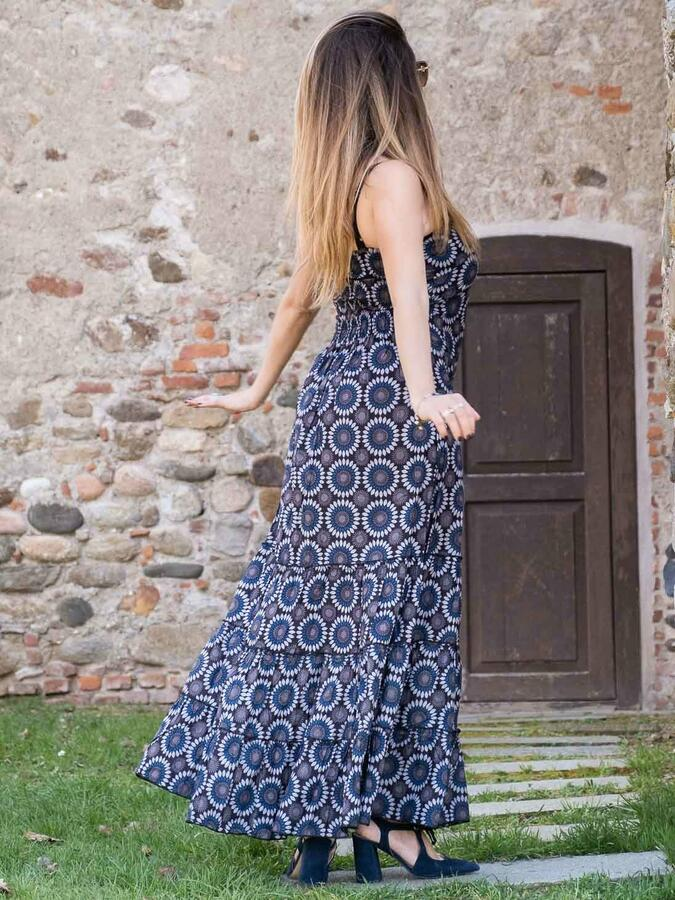 Long woman dress Ganga with horizontal flounces - flowered blue & gray