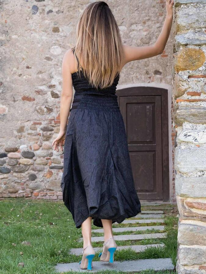 Long women dress Nandita with bag skirt - dark gray
