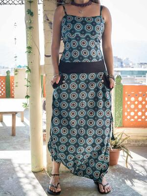 Long woman Jumpsuit Vaishali low crotch – geometric turquoise
