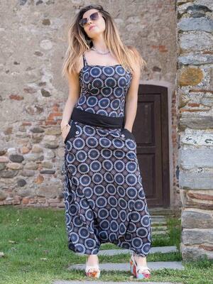 Long woman Jumpsuit Vaishali low crotch – flower blu gray