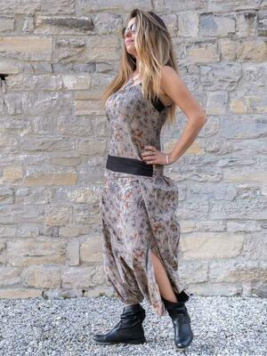Long women jumpsuit Urvasi low crotch with slit - gray orange