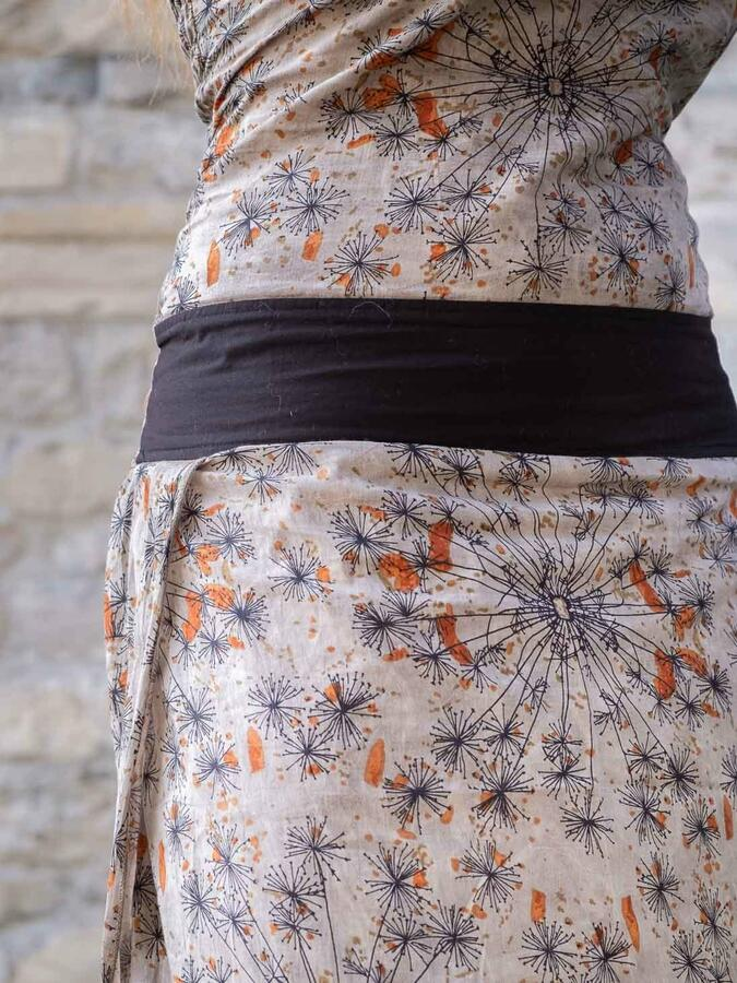 Vestido traje largo de mujer Urvasi - gris anaranjado