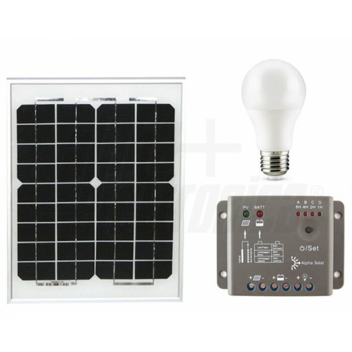 Kit fotovoltaico 15W - 12V - con regolatore e lampade led - Senza batteria