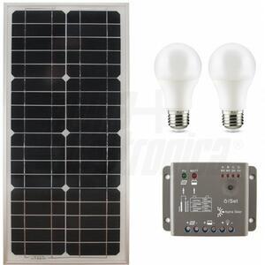 Kit fotovoltaico 27W - 12V - con regolatore e lampade led - Batteria non inclusa