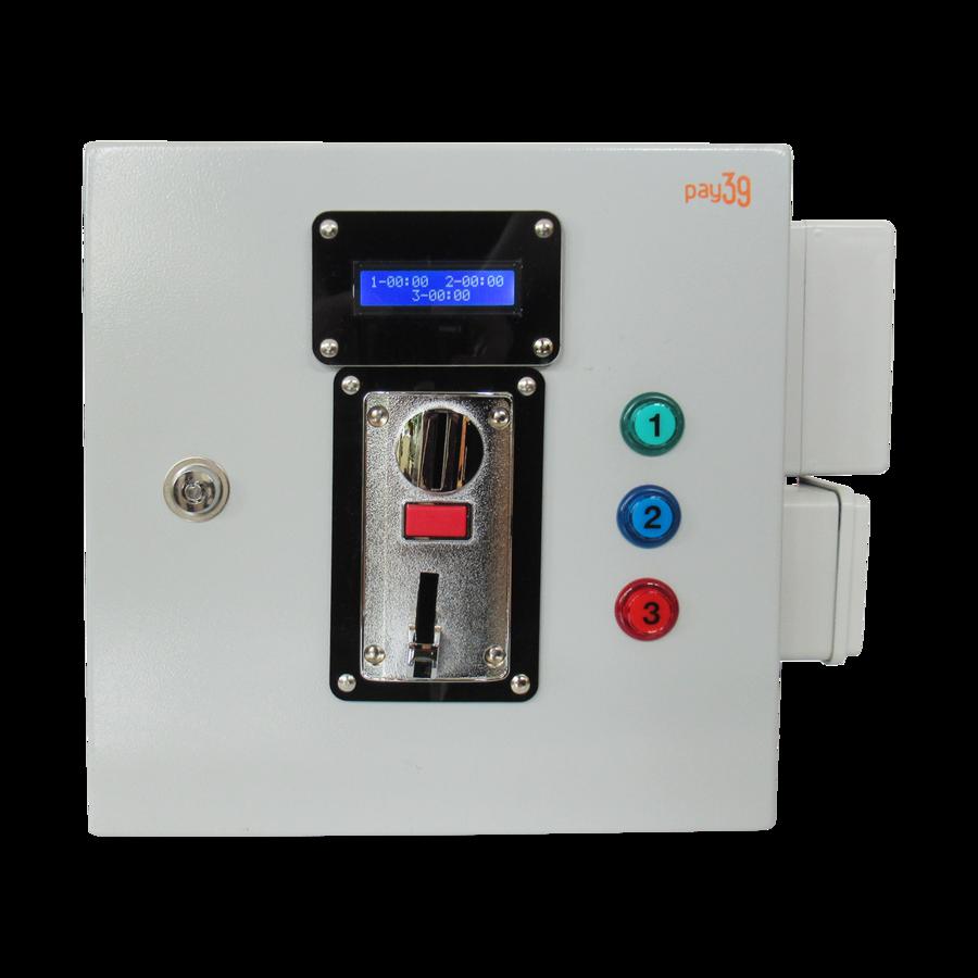 Gettoniera multimoneta per 3 impianti luce + funzione lampeggio preavviso